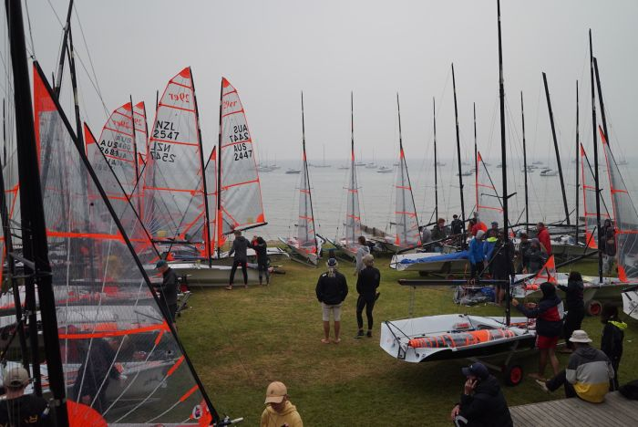 There has been low visibility at the Blairgowrie Yacht Squadron this week for the 29er Nationals. Photo  Jordan Roberts.
