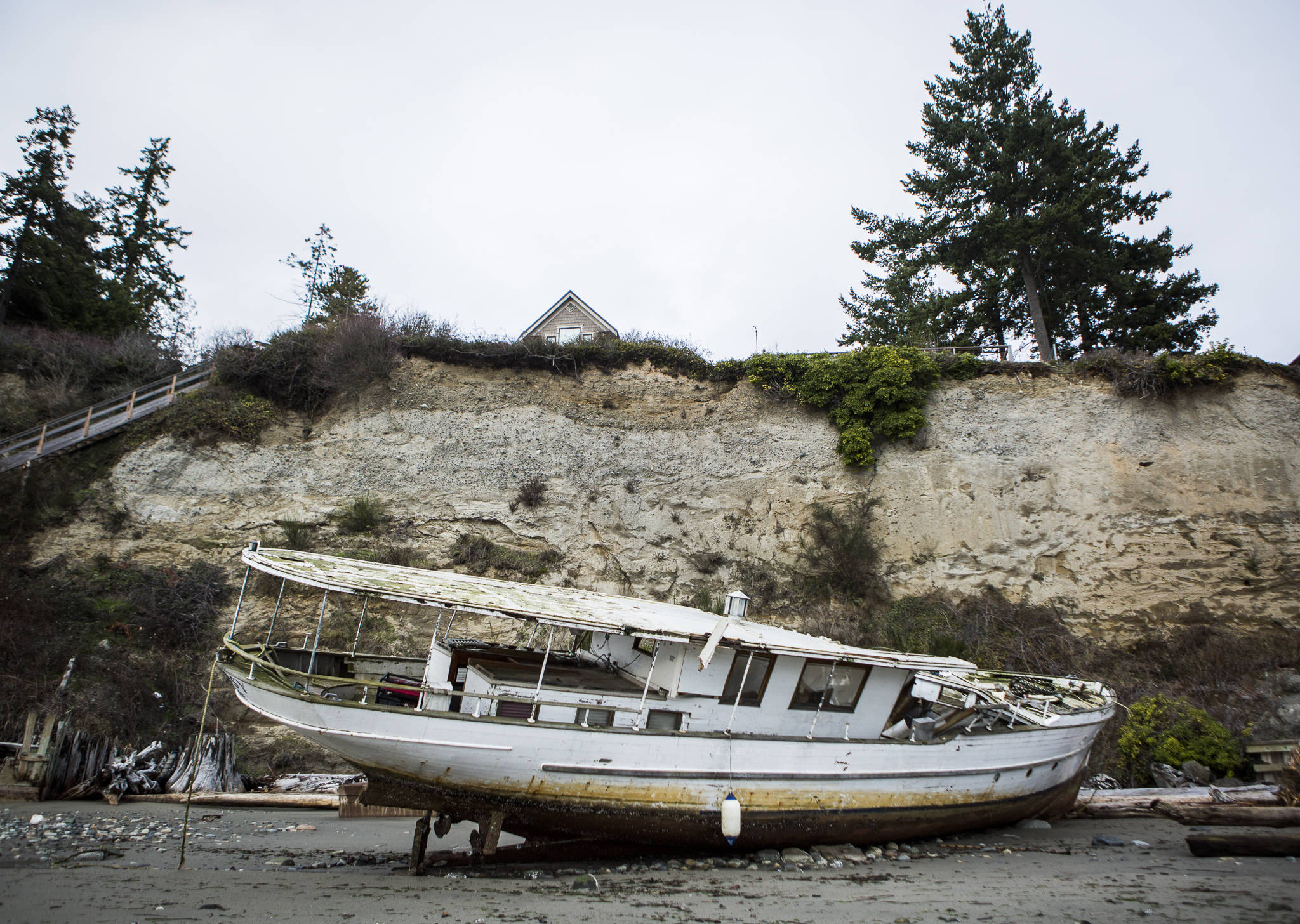 The Argosy sits along Mission Beach on Friday in Tulalip. (Olivia Vanni / The Herald)