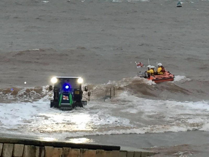 Exmouth Inshore Lifeboat George Bearman II launches to the rescue. Photo : Chris Sims RNLI