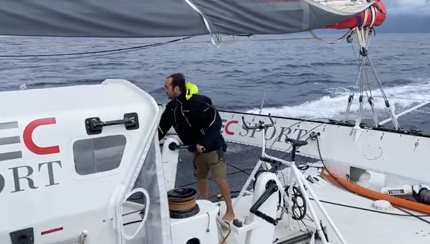 IDEC Sport grinds out the miles - photo from onboard IDEC Sport