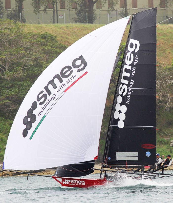 Smeg took out both races of the Australian Championship on Sydney Harbour today. Photo Michael Chittenden/18 Footers League.