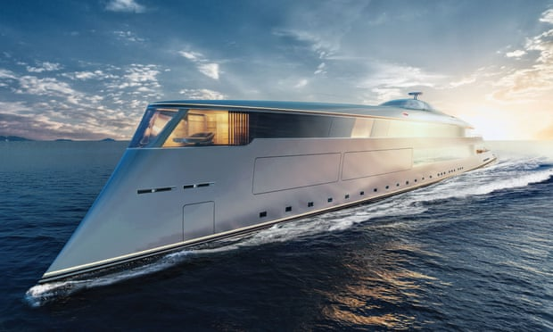 The 'Aqua' superyacht powered by liquid hydrogen - a snip at £500m. It can travel 3