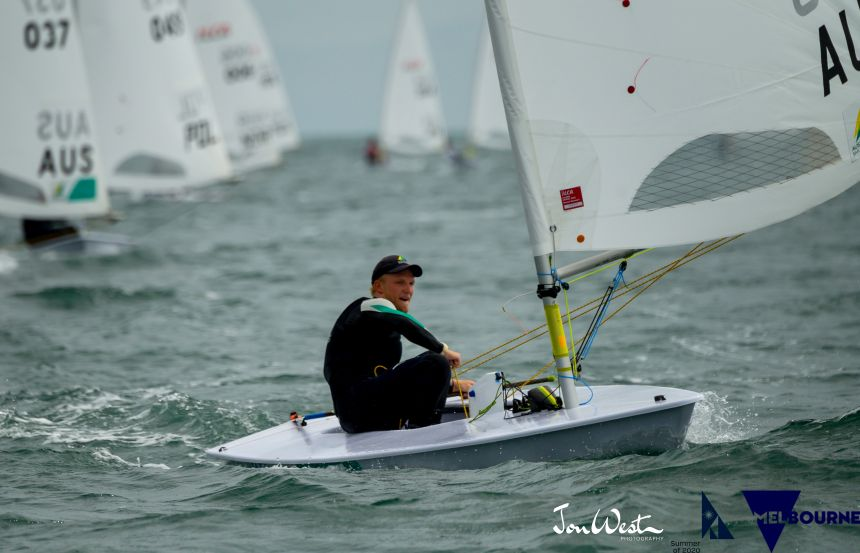 Finn Alexander (AUS) was the surprise co-leader at the Laser Standard Worlds on Day One. Photo Jon West Photography.