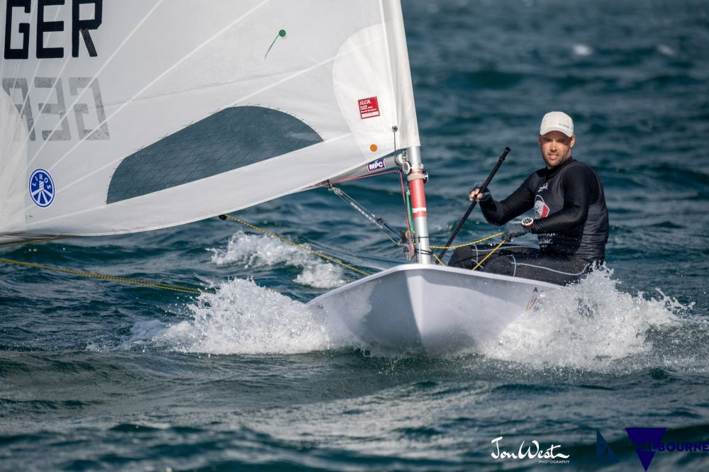Philipp Buhl (GER) scored two bullets on day two of the ILCA Laser Standard World Championship in Melbourne. Photo Jon West Photography.