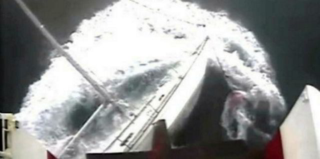 A camera on Red Falcon captures the collision with the yacht. Photo: MAIB