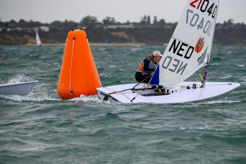 Olympic Champion Marit Bouwmeester (NED) leads the Australian Laser Radial Championships. Photo Jon West Photography.