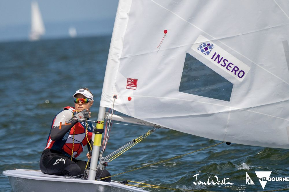 Defending champion Anne-Marie Rindom of Denmark began her title defence with a win in the first race of the ILCA Laser Radial Women's World Champion. Photo Jon West Photography.