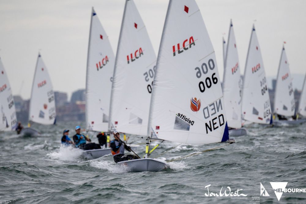 Marit Bouwmeester leads the Laser Radial fleet on Day 5 of the World Championship. Photo Jon West Photography.