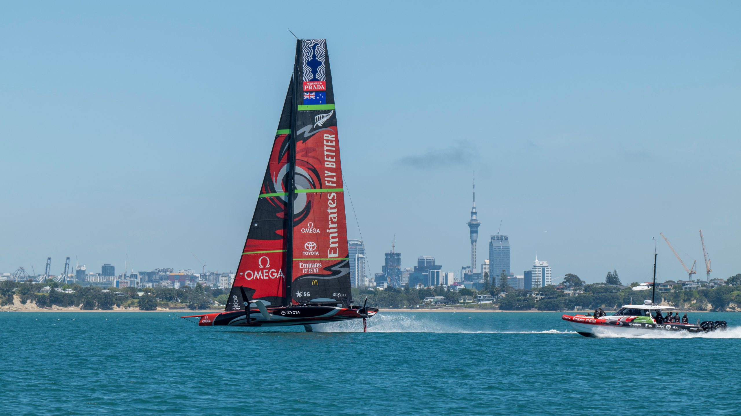 Emirates Team New Zealand in a training session