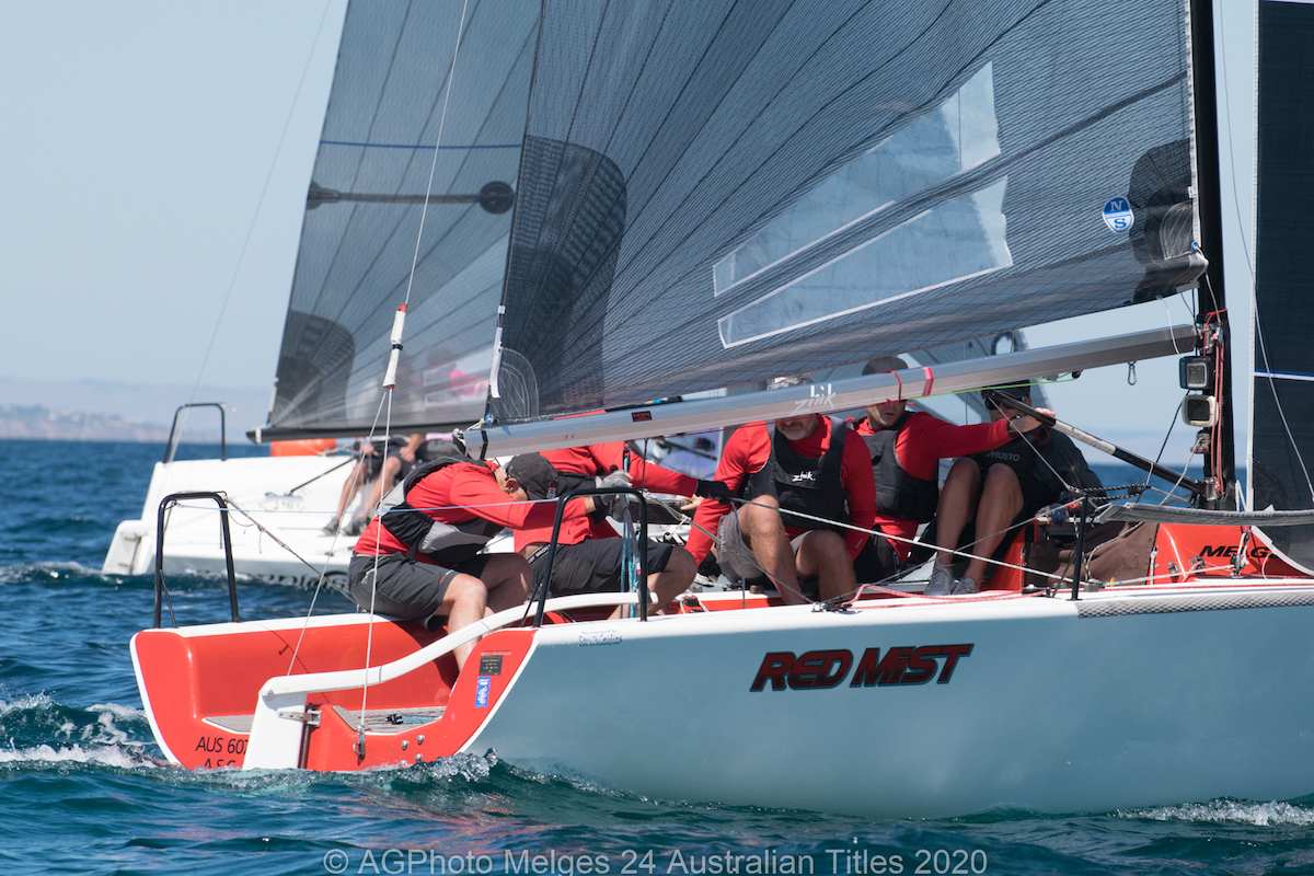 Robbie Deussen's Red Mist leads the Melges 24 Nationals after the first day. Photo Ally Graham.