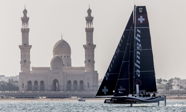 Alinghi scored three bullets on the opening day of the GC32 Oman Cup. Photo: Sailing Energy / GC32 Racing Tour.