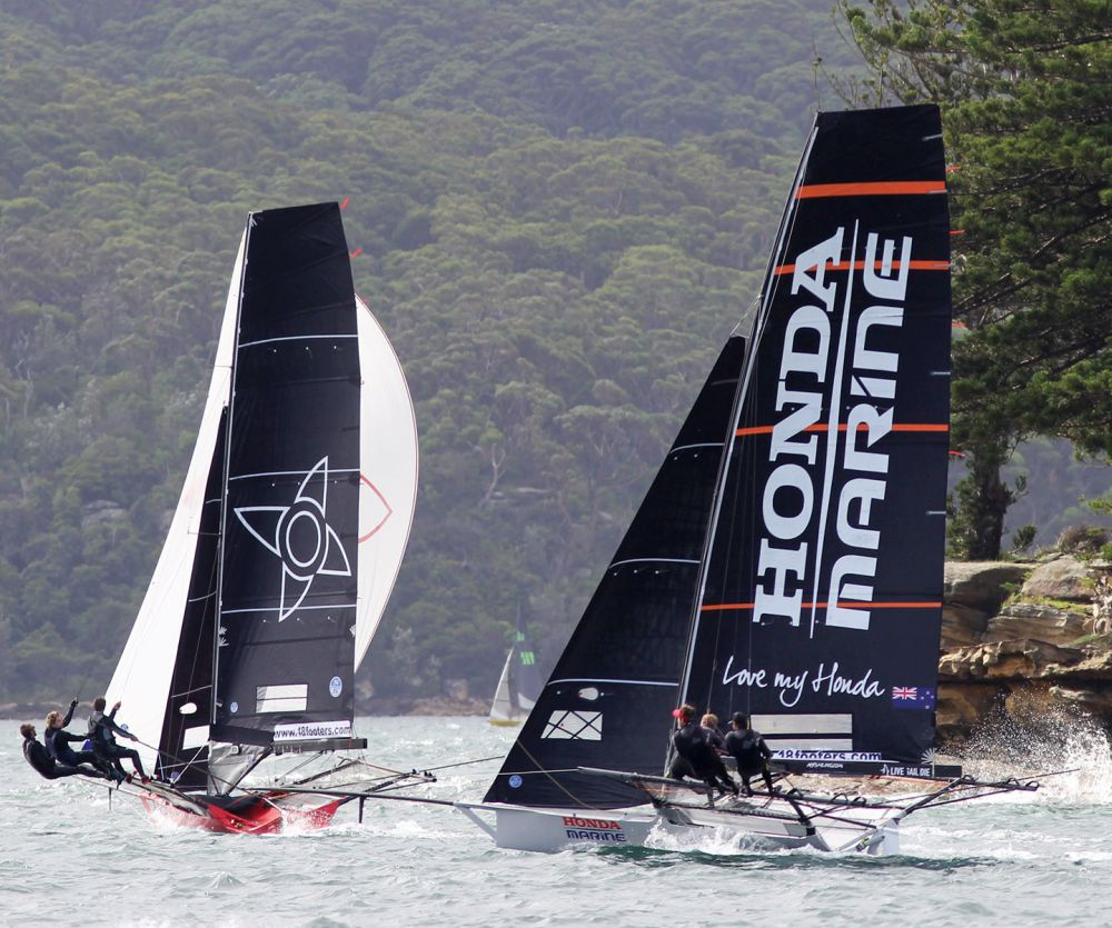 Honda Marine about to grab the lead from Noakesailing.