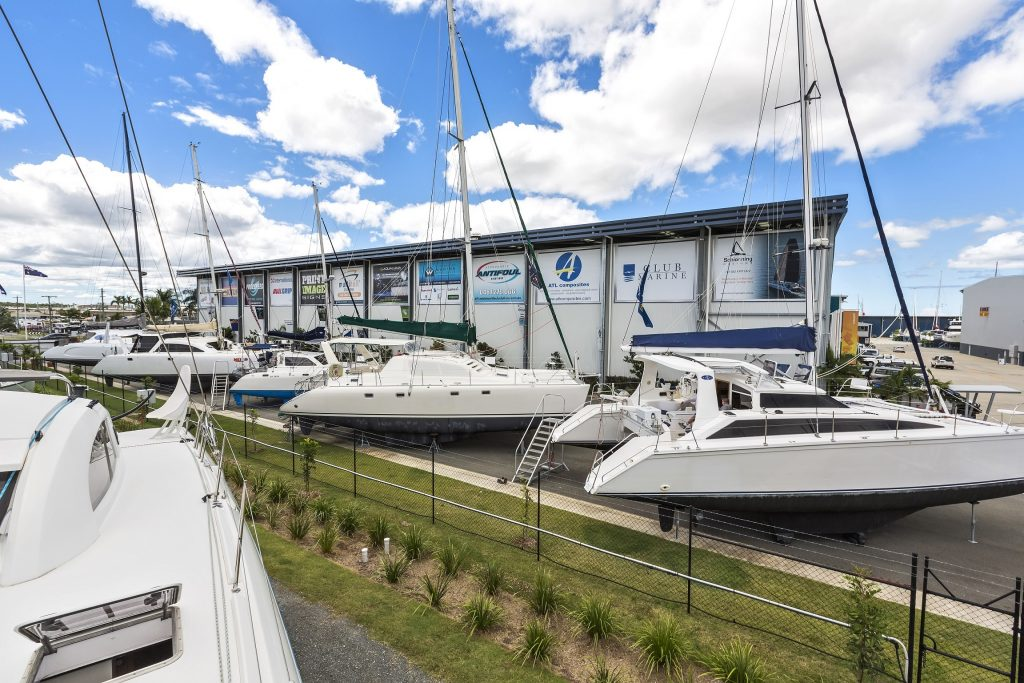 Multihull Solutions hard stand at the Boat Works.