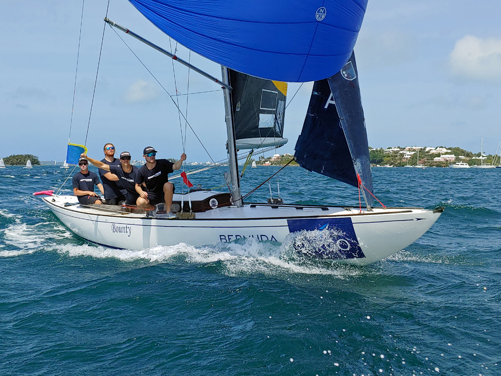 Skipper Harry Price of Australia and his Down Under Racing team practice downwind on Hamilton Harbour ahead of the first day of the Argo Group Gold Cup (©Argo Group Gold Cup photo).