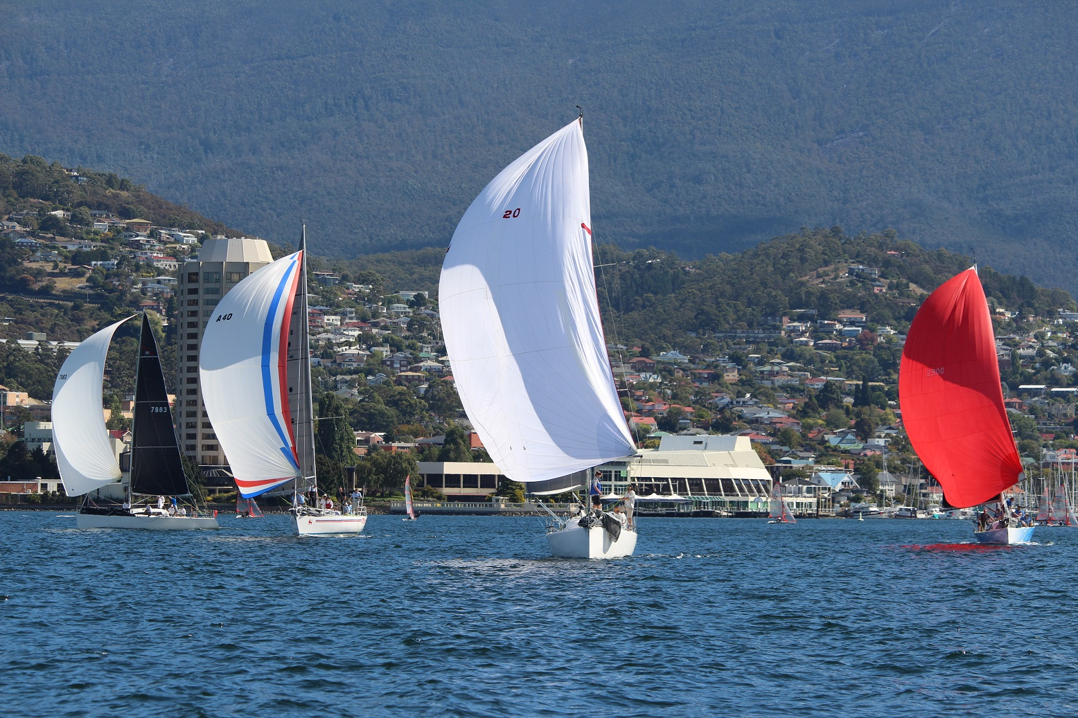 Hobart's Combined Clubs fleet racing on the Derwent on Saturday. Photo Peter Watson.