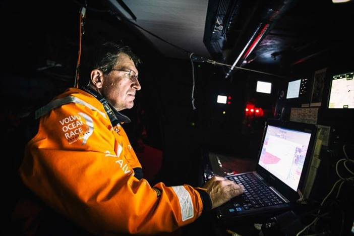 Will Oxley doing what he does best in the Volvo Ocean Race - Amory Ross pic
