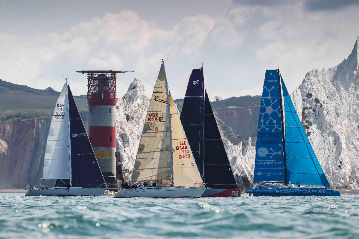 Racing past the Needles Lighthouse in the RORC's Cowes-Dinard-St Malo Race © Paul Wyeth/pwpictures.com