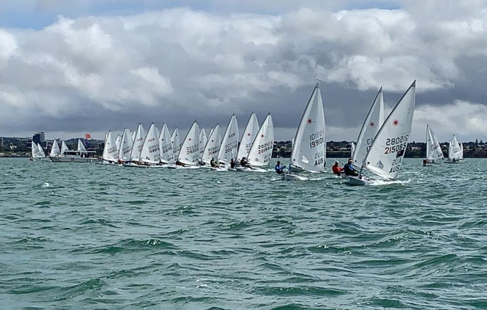 A clear start for the Oceania and Australian Laser Masters Championship. Photo Andrew Loughnan.