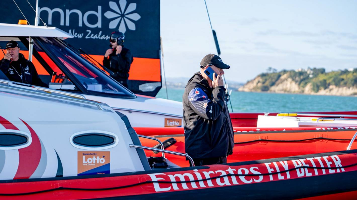 Team New Zealand boss Grant Dalton busy at work on the water during America's Cup testing. Photo Emirates Team New Zealand.