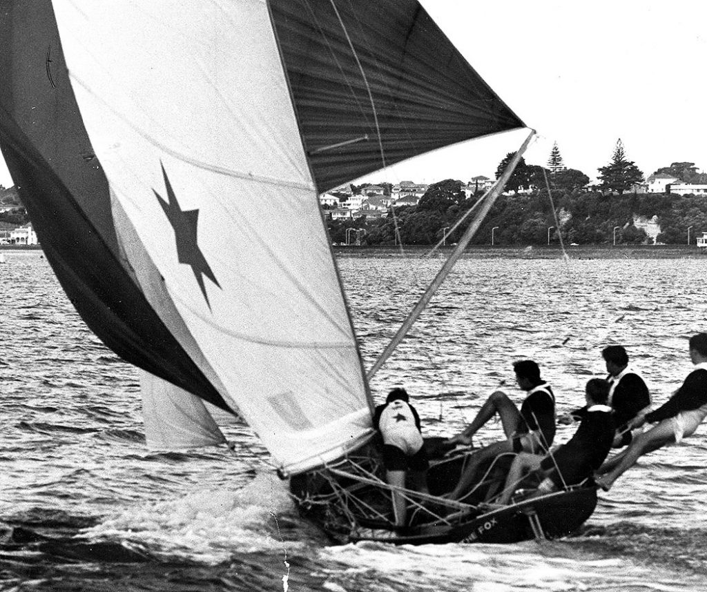 19-year-old Hugh Treharne at the helm of The Fox in the 1963 Giltinan world Championship.