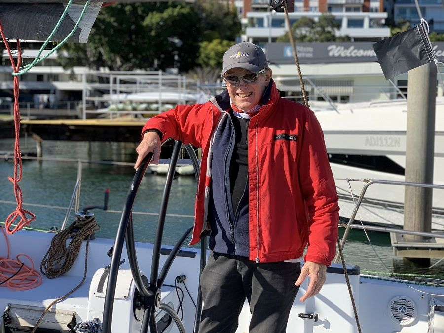 Ray Roberts at the helm in Rushcutters Bay.
