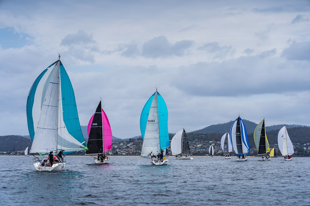 A sea of colour on the Derwent today - Beau Outteridge pic - Australian Yachting Champs.