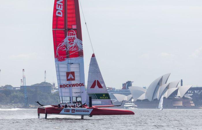 Holger Danske is the image on the sail of the Danish SailGP team.