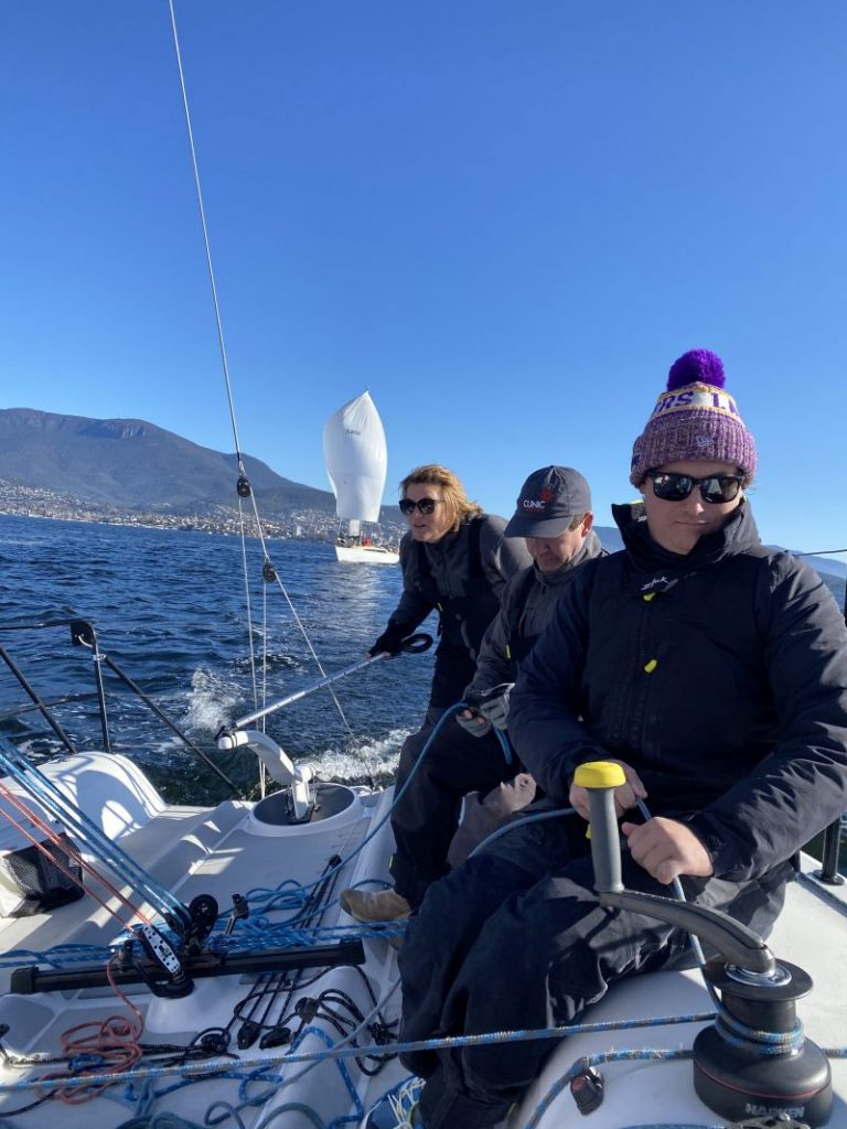 Jacinta Cooper at the helm of Crusader on the River Derwent today. Photo Indy Cooper.