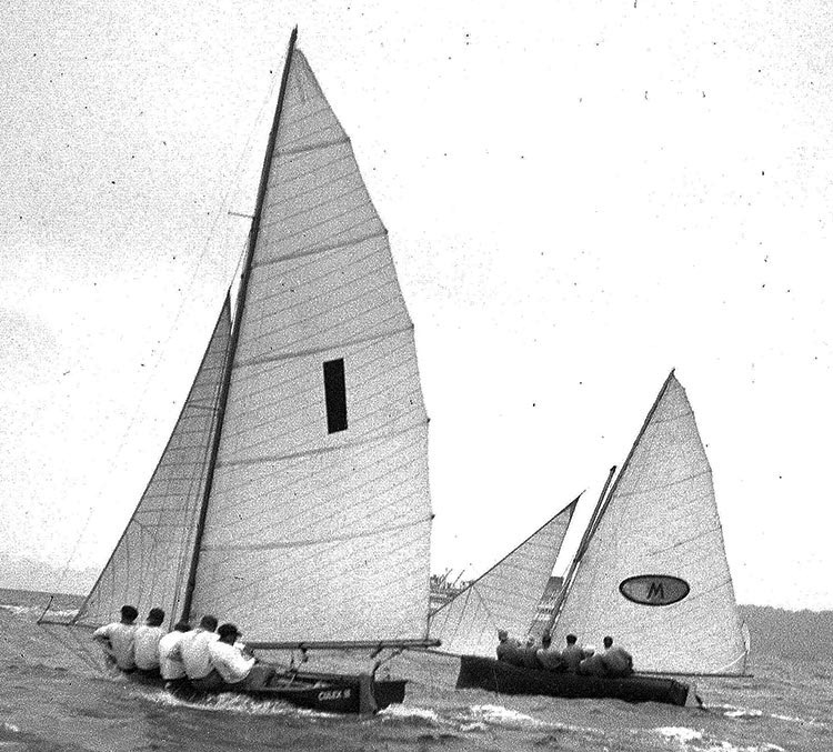 1949-1950 Australian champion Culex III (Lance Watts) and Myra Too during the 1951 Giltinan world Championship on Sydney Harbour.