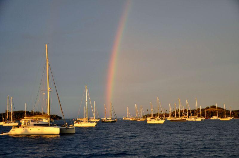 Yachts on anchor in Fiji.