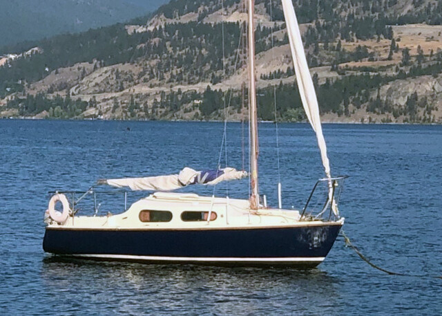 The sailboat that drifted on to a private dock in Canada.