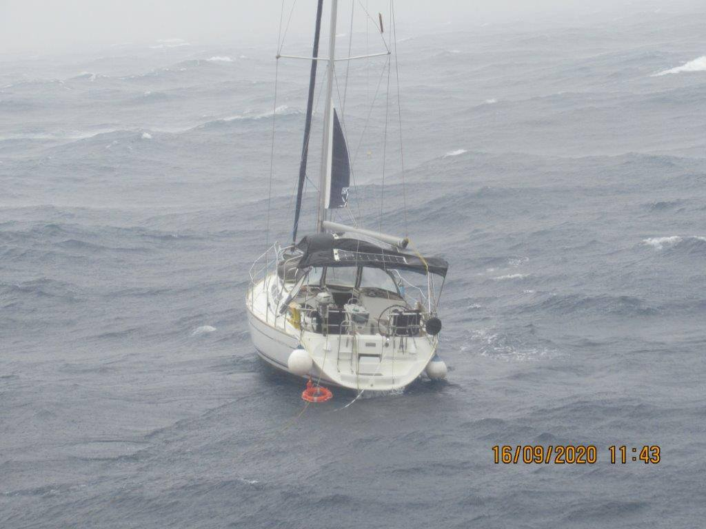 Australian yacht rescued off Malta. Photo Malta Rescue Authority/merchant vessel that assisted.