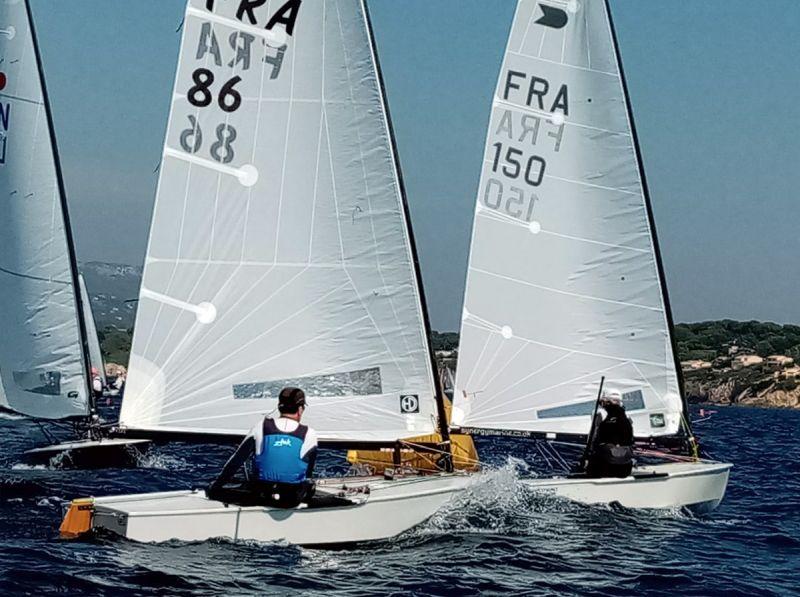 Patrick Debaere chases Pascal Tetard in the Mediterranean OK Dinghy Championship 2020. Photo Société Nautique de Bandol.