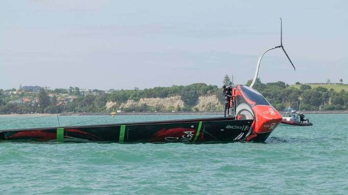 Team New Zealand crew on Te Aihe during their December capsize. Photo Team New Zealand.