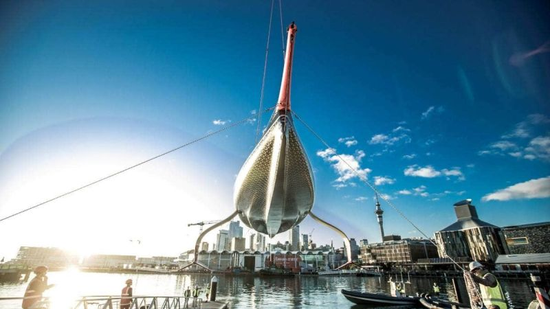 Britannia glistens in the Auckland sun as it is launched at the base of British challenger INEOS Team UK. Photo INEOS Team UK.