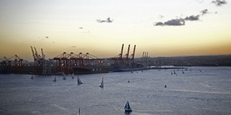 Yachts sail through Durban Harbour at the Port of Durban. (Photo: Kevin Sutherland/Bloomberg via Getty Images)