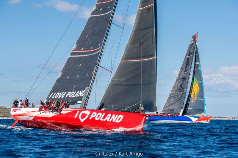 The two Polish boats fight to the finish of the Rolex Middle Sea Race. Photo Rolex/Kurt Arigo.
