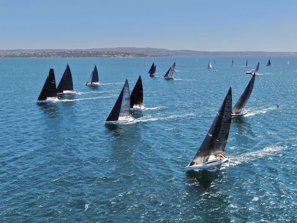 The Division 2 fleet starting their first race of the regatta. Photo Joe Puglisi.