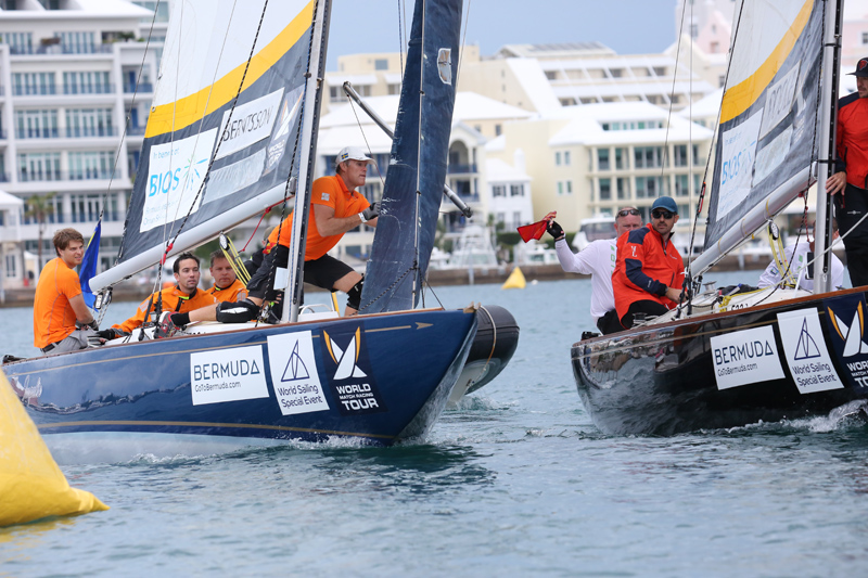 The Berntsson Racing Team (left) earned a red flag penalty versus Chris Poole's Riptide Racing for this incident at the first windward mark of their Flight 1 match