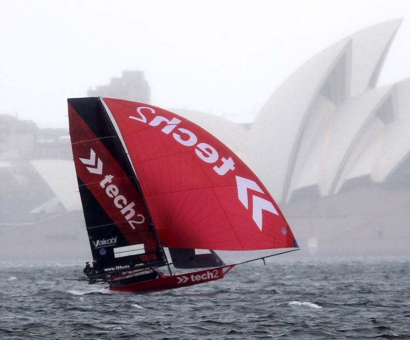 tech2 and the Sydney Opera House on an overcast day. Photo Michael Chittenden/18 Footers League.