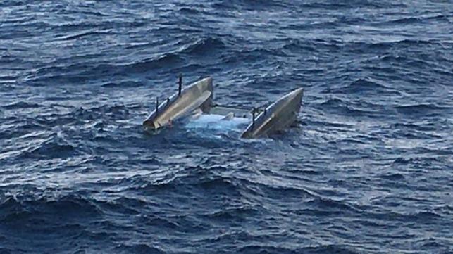 The capsized catamaran. Image courtesy Godby Shipping / Kenneth Lindeman