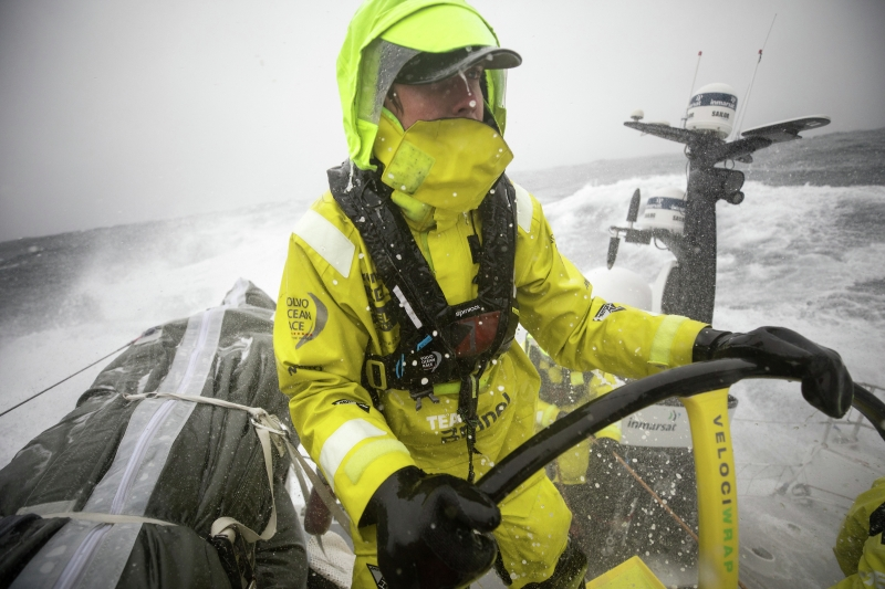 Peter Burling helming Team Brunel in the North Atlantic during the 2017-18 edition of The Ocean Race. Photo Sam Greenfield/Volvo AB.