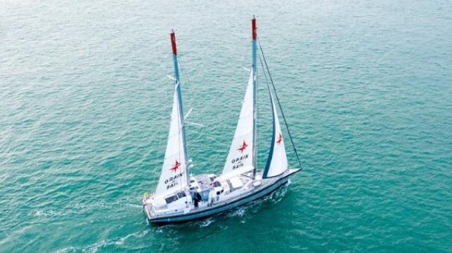 Grain de Sail departing France on November 18 - photo from Grain de Sail Facebook.