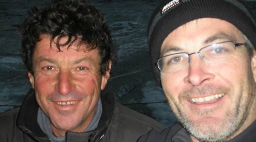 Jean Le Cam (left) and Kevin Escoffier after the rescue.