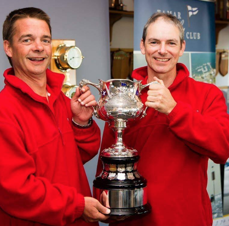 Jeremy Waldon and Aidan Geysen with their hands on the Rudder Cup in 2013 - pic courtesy ORCV.