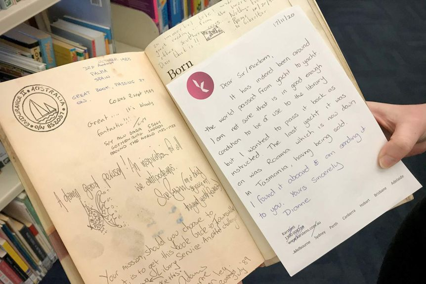 The book was posted back to Townsville City Libraries after being found aboard Tasmanian yacht Roama.(Supplied: Townsville CityLibraries)