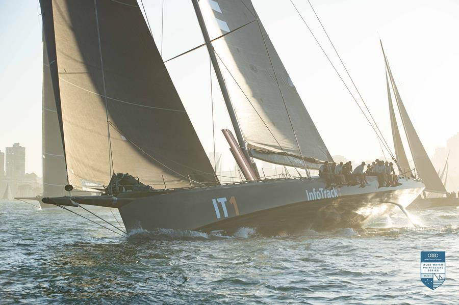 InfoTrack put on a masterclass start in the Cabbage Tree Island Race. Credit - CYCA/Hamish Hardy.