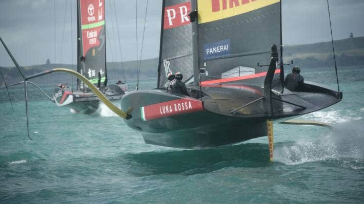 Luna Rossa on the tail of Team New Zealand during Thursday's practice session. CHRIS MCKEEN/STUFF