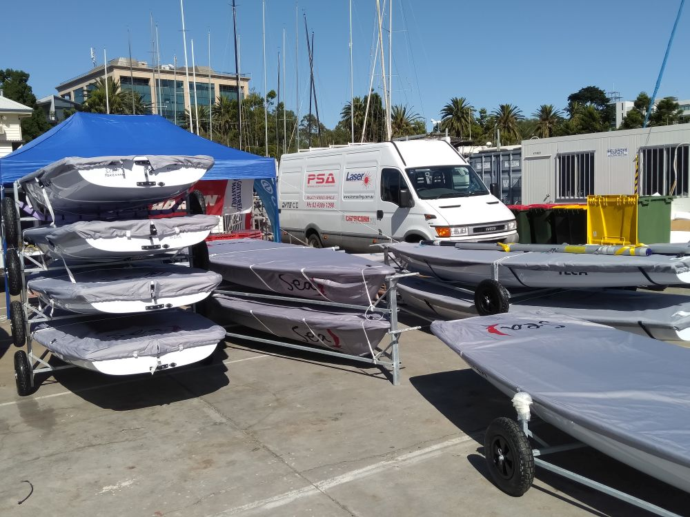 The PSA van at Royal Geelong Yacht Club for the Laser Masters.