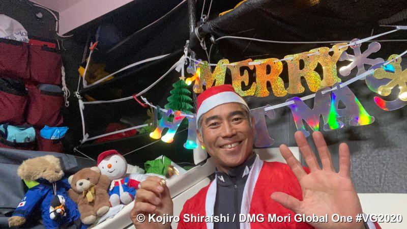 Kojiro Shiraishi celebrating Christmas during the Vendee Globe.